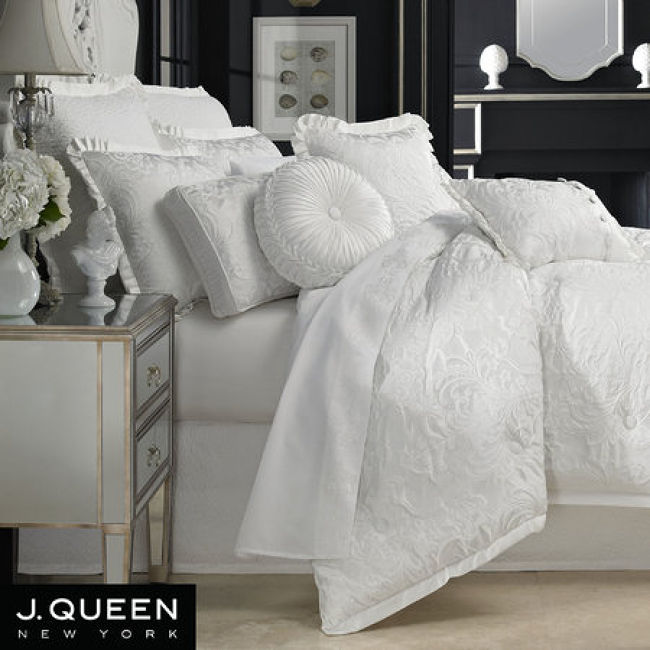 chantilly white comforter bedding by j queen new york chantilly comforter set full double - J Queen New York Bedding
