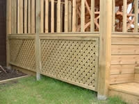 Enclosing a raised deck with a skirt creates a finished, attractive look