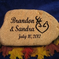 Use engraved stones for a personal touch that will endure any weather