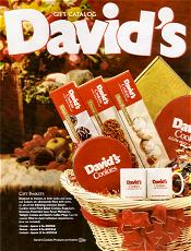 Picture of cookie gifts baskets from David's Cookies catalog