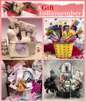 Picture of holiday gift food baskets from  A Gift To Remember catalog
