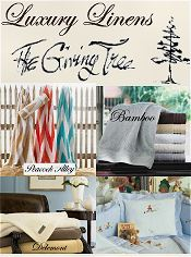 Picture of fine linen bedding from The Giving Tree catalog