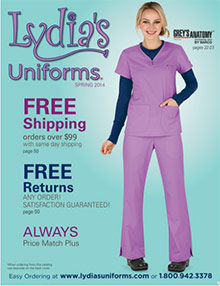 Picture of medical uniforms from  Lydia's Professional Uniforms catalog