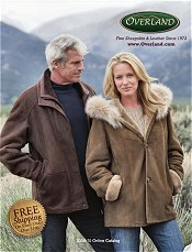 Picture of shearling coats from Overland Fine Sheepskin & Leather catalog