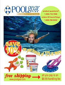 Picture of pool catalog from PoolGear Plus catalog