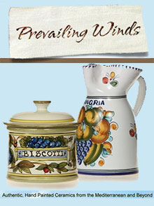 Picture of hand painted ceramic plates from Prevailing Winds catalog
