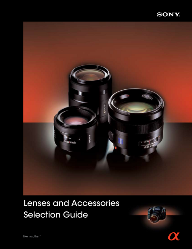 Sony- Camera Lenses and Accessories Selection Guide Catalog Cover