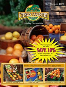 Picture of orange gift baskets from Citrus Country Groves catalog