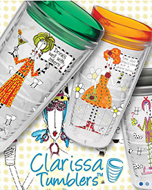 Picture of custom tumblers from Clarissa Tumblers catalog