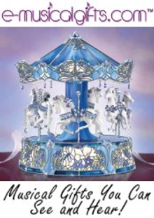 Picture of music boxes for sale from Emusicalgifts.com catalog