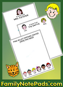 Picture of personalized notepads from Family Notepads catalog