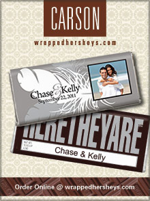 Picture of personalized hershey bars from Wrapped Hershey's Chocolates catalog