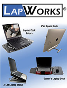 Picture of desk laptop stand from LapWorks catalog