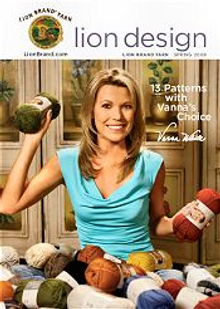 Picture of knitting patterns from Lion Brand Yarn Co. catalog