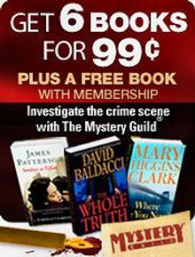 Picture of mystery books from The Mystery Guild® catalog