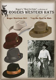Picture of mens western hats from Roger's Western Hats catalog