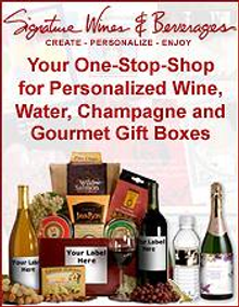 Picture of personalized wine bottles from Signature Wines catalog