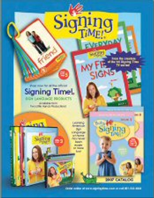 Picture of sign language books from Signing Time catalog