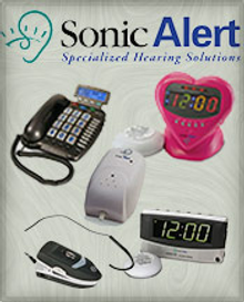 Picture of assistive hearing devices from Sonic Alert catalog