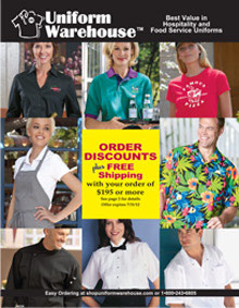 Picture of restaurant uniforms from Uniform Warehouse catalog