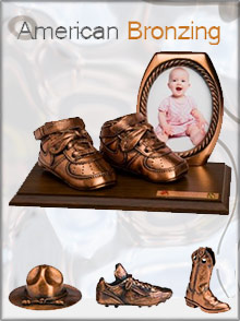 Picture of bronze baby shoes from American Bronzing catalog