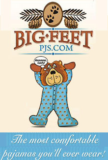 Picture of footie pajamas from Big Feet Pajama Company catalog