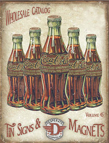 Picture of tin signs from Desperate Enterprises catalog