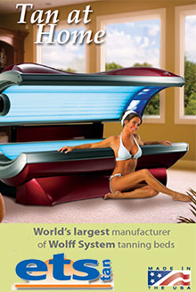 Picture of indoor tanning bed from ETS Home Tanning Beds catalog