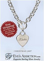 Picture of sterling silver necklaces from Eve's Addiction catalog