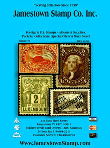 Picture of stamp catalog from Jamestown Stamp Company catalog