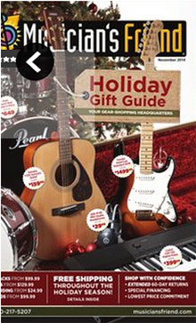 Picture of guitar catalog from Musician's Friend catalog