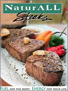 Picture of mail order steaks from NaturALL Steaks catalog